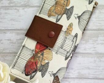Butterflies and bird cages wallet, womans wallet, slim clutch wallet, bifold money wallet, handmade fabric wallet, checkbook wallet