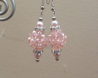 Light Pink Dangle Earrings. Nickel free. 11