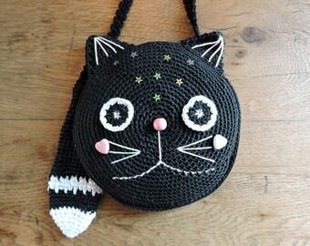 """CROCHET PATTERN. """"OREO the cat """". Crochet purse pattern. Girl purse pattern. Crochet bag pattern"""