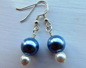 Pearl drop earrings, blue and white pearls, silver plated, matching set.