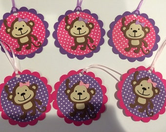 12 girl monkey Favor Tags with message
