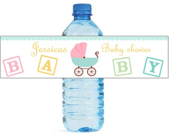 Baby Carriage Baby Shower Theme Water Bottle Labels Celebrations 2 Sizes available
