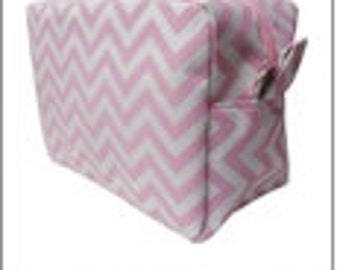 LIGHT PINK - Chevron Cosmetic Bag - FREE Monogram!!