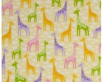 Spring Giraffe Flannel Fabric - The Wild Bunch By Robert Kaufman Fabrics - Designer Fabric By the Half Yard