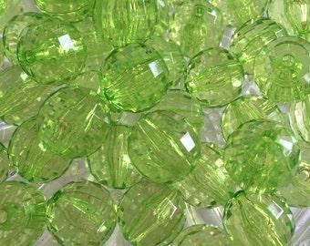 Green 20mm Tranparent Beads- 10pc Chunky Bubblegum Beads