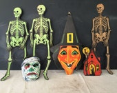 Vintage Halloween Decor - Halloween Mask - Paper Skeleton - Paper Witch - H.E. Luhrs