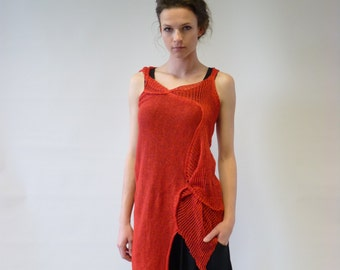 Feminine transparent fire red linen top, S/M size. Handmade, only one sample.