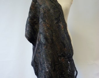 Brown felted shawl. Warm and mode together.