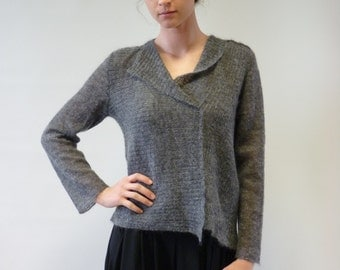 The hot price, new price 65 EUR, original price 95. New season: Beautiful grey mohair sweater, M/L size. Handmade, first quality.