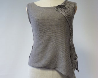 Sale, new price 45 EUR, original price 65. Beautiful asymmetric stone grey top, M size. Only one sample. Very feminine and artsy.