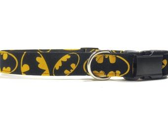 Dog Collar, Batman Collar, Durable Fabric Dog Collar, XS, S, M, L, XL