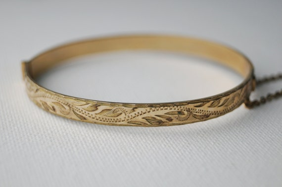 Vintage Gold Bracelet Engraved Rolled Gold Bangle Made in