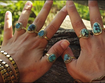 Bronze with TURQUOISE rings. Tribal jewelry. Boho style. Ethnic.