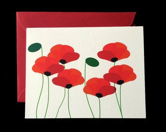 Red Poppies - Greeting Card w/ Red Envelope