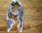 Winter Sale!! Classic Elegant Moroccan Scarf Cream and Blue, Soft, Lightweight, Year Round Scarf, Fall Scarf Winter Scarf