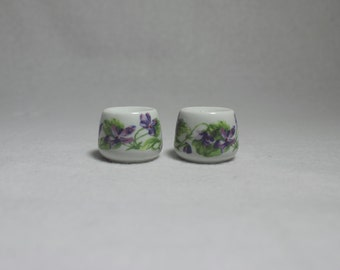 FREE SHIPPING-Lot of 2 Vintage Funny Designs Candle Holder, Purple Floral Funny Designs Holder
