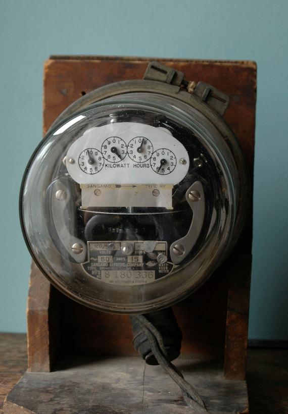 Antique Watt Meter : Sangamo electric company watt meter kilowatt type hf