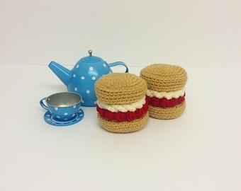 Play Food Crochet Devon Scone Set of 2, Gift, Amigurumi.