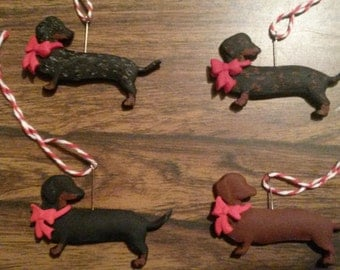 Handmade Polymer Clay Wiener Dog Ornament