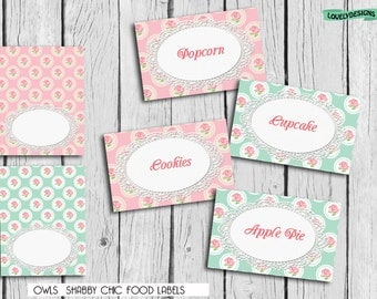 Shabby Chic FOOD Tent Labels, Place card BLANK  Printable,favors DIY, Instant Download
