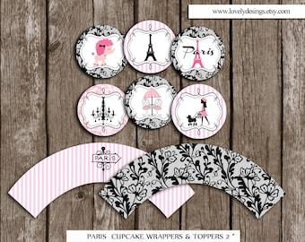 Paris Cupcake Toppers and Wrappers, Paris Party Circles/Stickers, Paris Party Printable, Paris  favors DIY, Instant Download