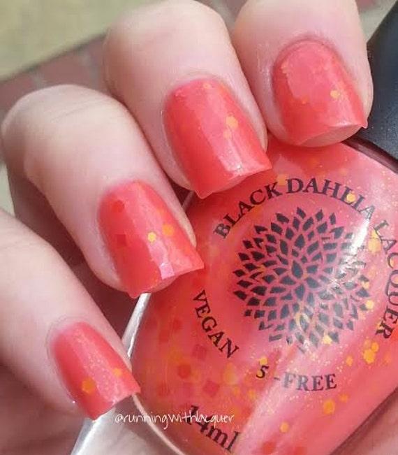 Coral Orange Glitter Crelly Nail Polish -- Dandelion