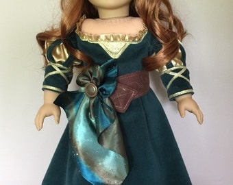 """Merida from the movie Brave for American girl or 18"""" doll gown"""