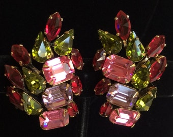 Gorgeous Vintage Schreiner N.Y Earrings~Multi Color Rhinestones/Gold Tone~Signed