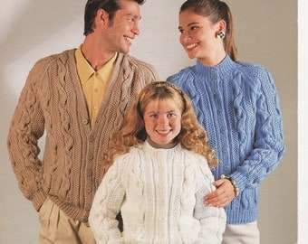 Family Knitting Patterns, His and Hers Matching Sweaters, Childrens Knitted Jacket Pattern, Family Chunky Knit Pattern, Knitting Pattern