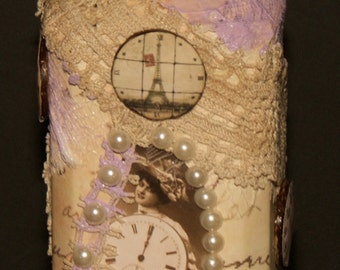 Shabby chic altered bottle (Time flyes by)