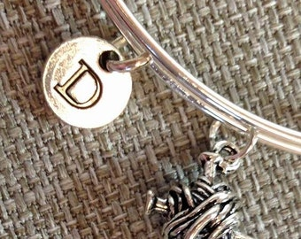 SALE - Yarn and Needle Knit bracelet, Knitting crafter bracelet, Personalized Bangle, Knitting charm, knitting jewelry, Knitting bangle