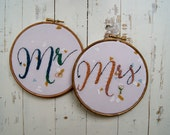 Mr and Mrs wedding embroidery hoop set