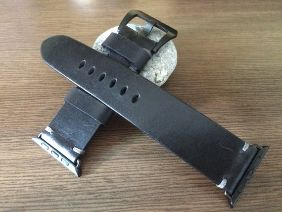 Apple Watch Band | Apple Watch Strap | Vintage Leather Watch Band | Pure Black Leather Watch Strap For Apple Watch 38mm & Apple Watch 42mm