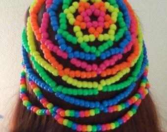 Kandi Beanie Neon Rainbow, Rave Wear, Kandi Hat, Kandi Headdress, EDM Festival Wear