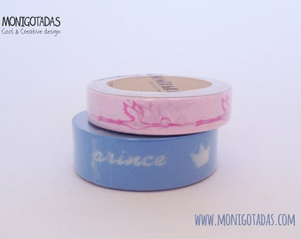 baby shower  Washi Tape - set of 2 (Stork and prince) / baby shower / Stork washi / Prince washi