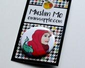 Princess Hijabi Muslim Button in Red