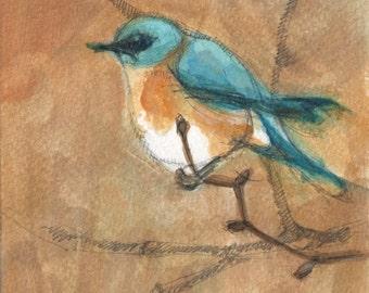 Original acrylic painting, Blue bird