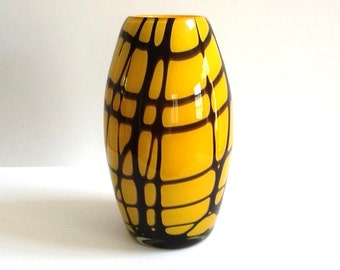 Large Opaque Art Glass Vase, Hand Blown, Ochre with an Abstract Design