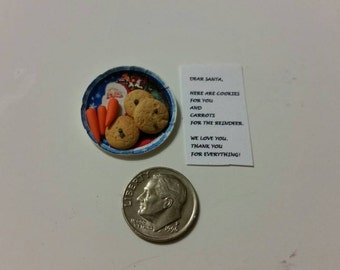 "Miniature Dollhouse Cookies for Santa and Carrots for Reindeer and Note to Santa 1"" Scale"