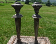 Antique PAIRPOINT Quadruple Silver Plate - Signed - Set 2 - Matching Pair of Pillar Style Candlestick Holders