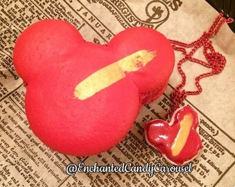 Mickey Macaroon Red Raspberry Necklace Pendant Disneyland Disney Inspired