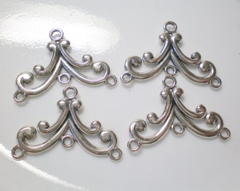 Set of 4 Heavy Weight Sterling Silver Chandelier Findings