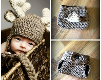 Crochet Deer Hat and Matching Diaper Cover