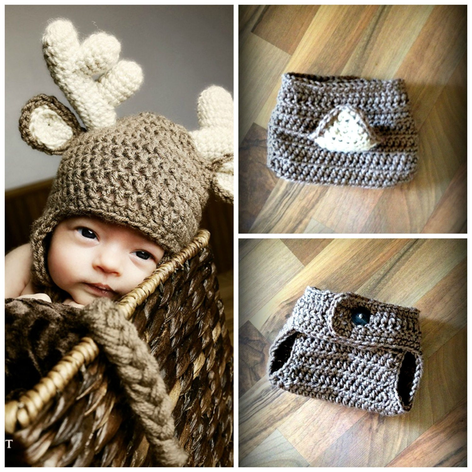 Book Cover Crochet Hat : Crochet deer hat and matching diaper cover