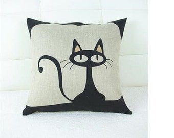 Alpaca Filled Cushions - RubeyLiza Homewares - Linen Cushions - Le Cat Chat, Black Cats, Bird in Cage