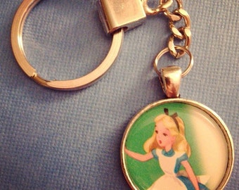 Alice in Wonderland recycled book page keychain ON SALE