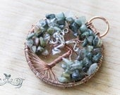 Wire Wrapped Tree of Life Pendant with Copper wire, Green Hair Quartz and a Silver Tree Frog