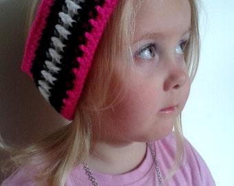 Crochet Zebra Print Headband Earwarmer Various Sizes Made To Order