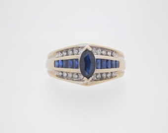 1.25 Carat T.G.W. Marquise & Baguette Sapphire And Diamond Ring 10K White Gold
