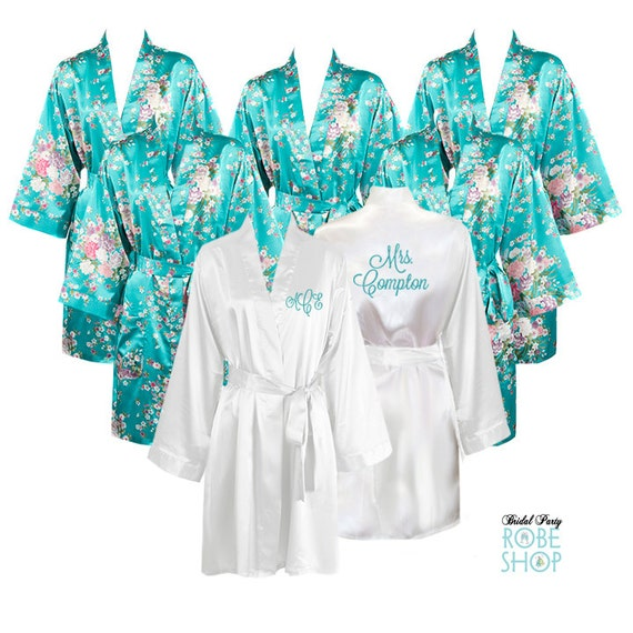 Set Of 8 Satin Bridal Party Robes With 7 Floral Robes And 1 White Personalized Robe For The
